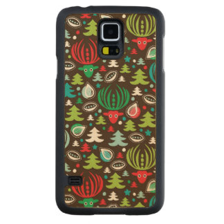 Christmas background pattern wrapping carved maple galaxy s5 case