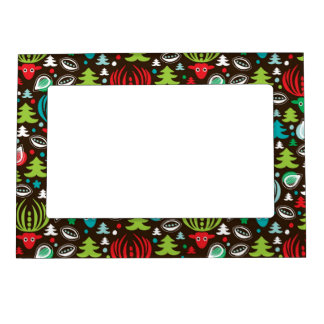 Christmas background pattern wrapping magnetic picture frame