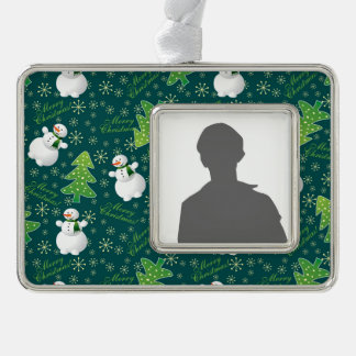 Christmas Background Silver Plated Framed Ornament