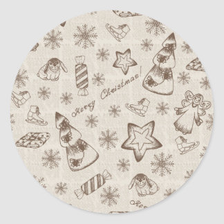 Christmas background round stickers