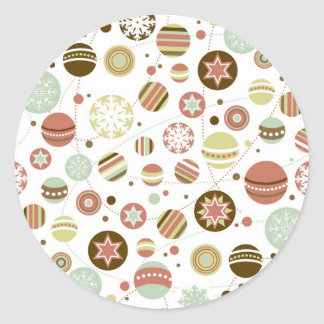 Christmas background with ornaments round sticker