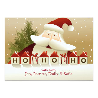 Christmas Background With Santa Claus 13 Cm X 18 Cm Invitation Card