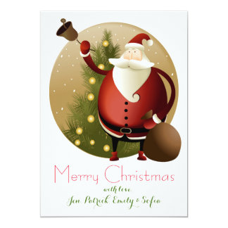 Christmas Background With Santa Claus 2 13 Cm X 18 Cm Invitation Card