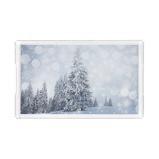 Christmas Background With Snowy Fir Trees Acrylic Tray