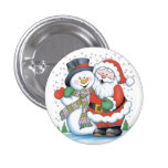 Christmas badge: Santa and Snowman hugging 3 Cm Round Badge