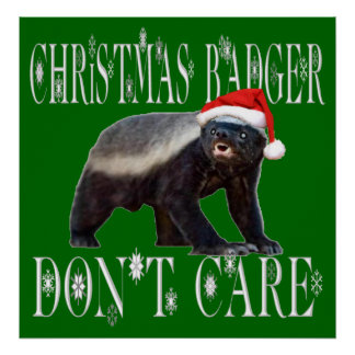 CHRISTMAS BADGER DON T CARE PRINT