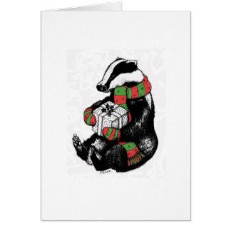 Christmas Badger Greeting Card