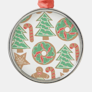 Christmas Baking Print Silver-Colored Round Decoration