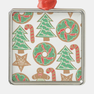 Christmas Baking Print Silver-Colored Square Decoration