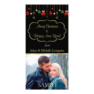 Christmas Ball Black Gold Frame Template Personalised Photo Card