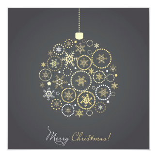 Christmas Ball Made From Gold And Silver 13 Cm X 13 Cm Square Invitation Card