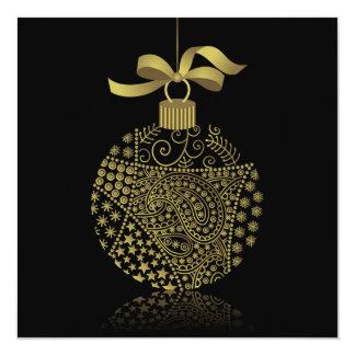 Christmas Ball On Black 13 Cm X 13 Cm Square Invitation Card