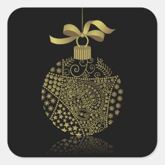 Christmas Ball On Black Square Sticker