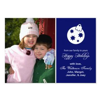 "Christmas Ball Ornament (Happy Holidays Navy Blue) 5"" X 7"" Invitation Card"