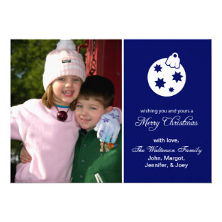 Christmas Ball Ornament Merry Christmas Navy Blue Announcements