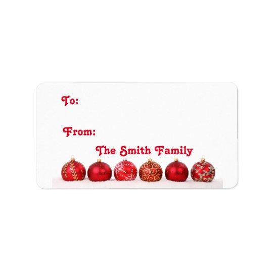 Christmas Ball Ornaments Address Label