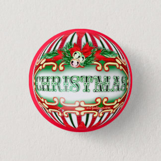 CHRISTMAS BALL SMALL BUTTON 1¼ Inch