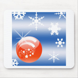 Christmas ball Snowflake blue white red Mousepad