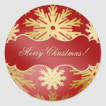 Christmas Ball Snowflakes Red Gold stickers