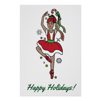 Christmas Ballerina with Candy Cane Poster