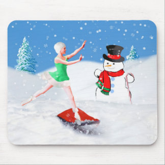 Christmas, Ballet Dancer, Snow Scene Mouse Pad