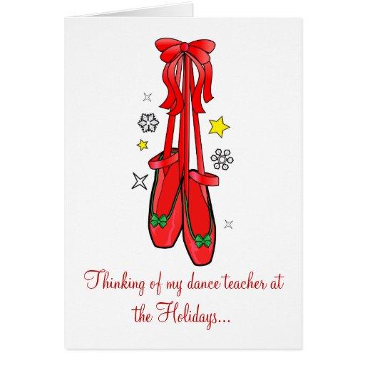 Christmas Ballet Shoes Dance Teacher Card