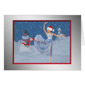 Christmas Ballet Snow Scene Card