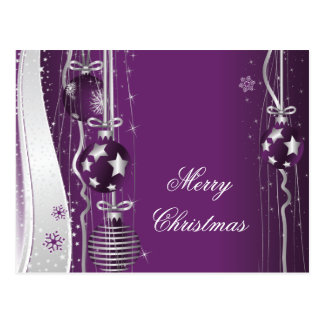 Christmas Balls And Ribbons Purple Silver Postcard