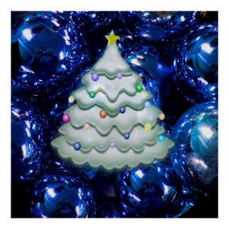 Christmas Balls and Tree,blue Poster