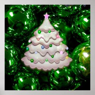 Christmas Balls and Tree,green Print