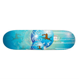Christmas balls in blue with reindeer skateboard