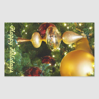 Christmas Balls on the Tree Rectangle Sticker