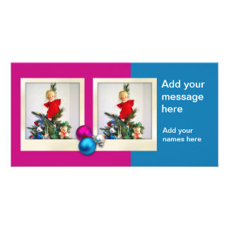 Christmas Balls  with 2 photos Personalized Photo Card