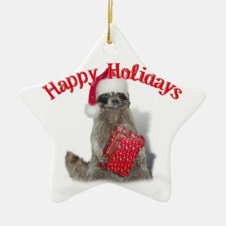 Christmas Bandit Raccoon with Present Christmas Ornament