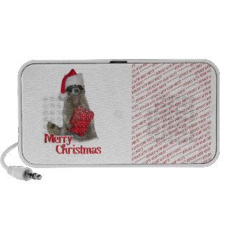 Christmas Bandit Raccoon with Present Laptop Speakers