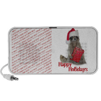 Christmas Bandit Raccoon with Present iPhone Speakers