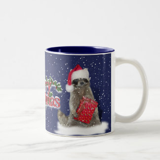 Christmas Bandit Raccoon with Present Two-Tone Coffee Mug