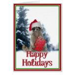 Christmas Bandit Racoon with Present Greeting Card