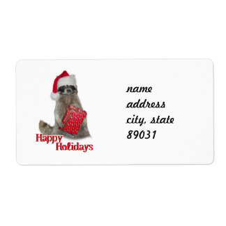 Christmas Bandit Racoon with Present Shipping Label