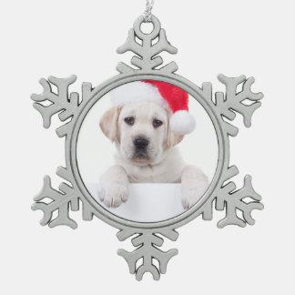 Christmas Banner Dog Pewter Snowflake Decoration