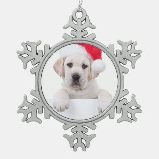 Christmas Banner Dog Snowflake Pewter Christmas Ornament