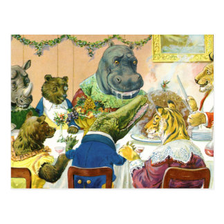 Christmas Banquet in Animal Land Postcard