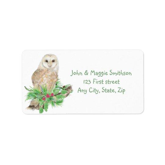 Christmas Barn Owl Bird Nature Custom Art Address Label