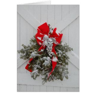 Christmas Barn Wreath Card
