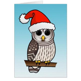 Christmas Barred Owl Santa Greeting Card