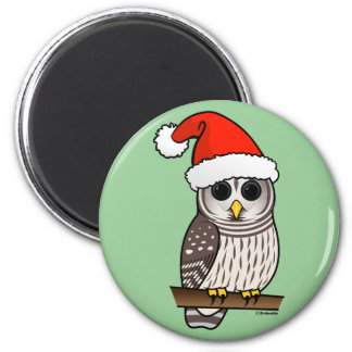 Christmas Barred Owl Santa Magnet