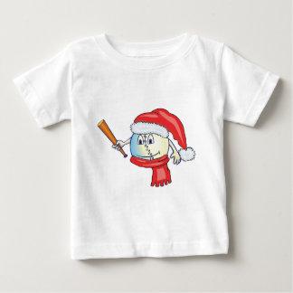 Christmas baseball in santa hat baby T-Shirt