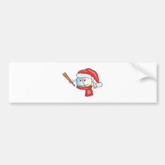 Christmas baseball in santa hat bumper stickers