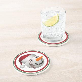 Christmas Baseball Snowman Beverage Coaster