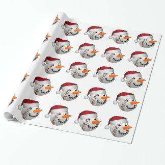 Christmas Baseball Snowman Wrapping Paper